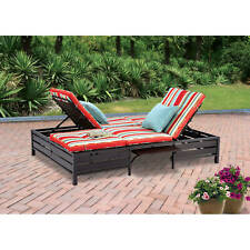 Outdoor Adjustable Double Chaise Lounge Bench Cushioned Furniture Patio Pool New
