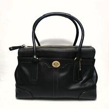 COACH Hamptons Tiffany Large Black Leather Handbag Purse 11048
