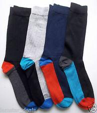 GH Bass & Co Mens Socks 4 Pack NWT Navy Grey & Black Sz 10-13 Colored Foot