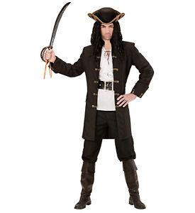 Schwarzer HERREN Mantel mit goldenen Knöpfen für Piraten Fluch der Karibik Jacke