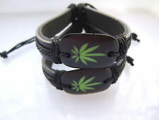 Black Leather Green Cannabis Ganja Marijuana Weed Leaf Charm Wristband Bracelet