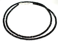 Natural Black Spinel 3 mm Rondelle Faceted Beads 925 Sterling Silver Necklace