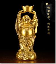 Collection Chinese Maitreya Buddha holding ingot bronze statue