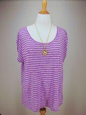LANE BRYANT 22 24 Top Purple Striped Lavender Slub Knit 2X 22W