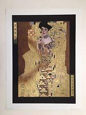 GUSTAV KLIMT 'ADELE,1907' RARE AUTHENTIC 1990's ART PRINT WITH METAL IMPRINTS