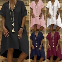 ZANZEA Women Short Sleeve Solid V Neck Midi Dress Ladies T-Shirt Dress Plus Size