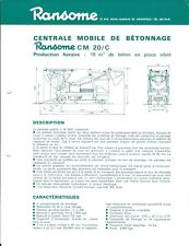 Equipment Brochure - Ransome CM 20/C Mobile Mixing Plant - FRENCH lang (E4467)
