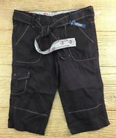 Faded Glory Girls Cropped Capri Pants Size 8 Brown Adjustable Waist New