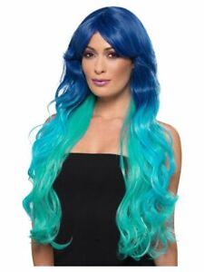 Bleu Ariel sirène perruque Femmes super long Robe Fantaisie Perruque Résistant à La Chaleur