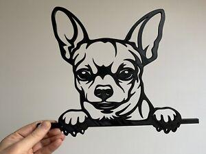 Peeking Chihuahua Dog Pet Animal Wall Art Decor Hanging Decoration 300mm x 248mm