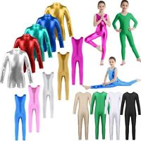 Kids Girls Gymnastics Ballet Dance Leotards Metallic Shiny Bodysuit Dancewear