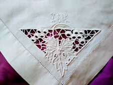 "Madeira White on White Grape Design Cutwork & Embroidery Table Topper 23"" by 25"""