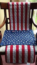 SeT Of 6*ReVERSIBLE QuILTED AmERICAN FLaG ReD WhITE BLuE StARS StRIPES PLaCEMATS
