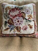 Vintage Needlepoint Decorative Pillow Floral Roses 14x14