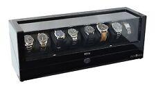 Pangaea Q840 Eight 8 Watch Winder with LED Lights Black Mabuchi Motors