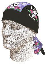 Lady Rider Skull & Rose Doo Rag Headwrap Skull Durag Sweatband Capsmith CDL446