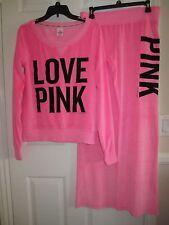 Victoria's Secret LOVE PINK Velour Crew Neck Sweater & Pant Set - Size M