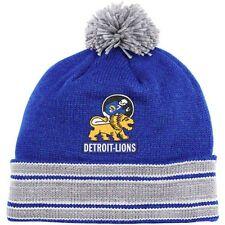 Detroit Lions Mitchell and Ness Jersey Stripe Cuffed Pom Knit Beanie Hat