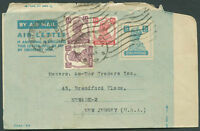 BRITISH INDIA TO USA Old Air Letter VF