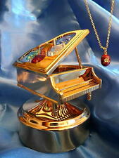 "Gold Empress Alexandra Music box Grand Piano plays ""Fur Elise"" & Egg Necklace"