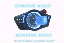 KOSO RX1N+ Digital Speedometer Speedo Gauge RPM Lights Motorcycle Kit Car blk/Bl