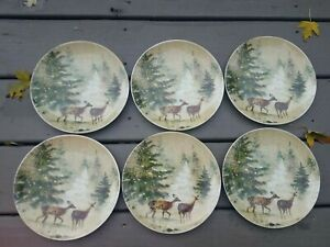 6 New Pottery Barn Deer In Snow Salad Plates