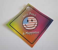 Love, Peace Happiness Smiley Face Car/Truck Window Sign w/ Suction Cup (US Made)