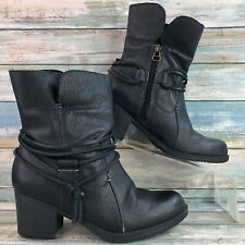 Sporto Womens Lori Black Leather Ankle Boots Fleece Lining Block Heel Zip 5.5M