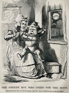 c1845 Antique Victorian Print IRELAND - GREEDY BOY DAN WHO CRIED FOR THE MOON