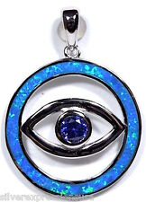 Blue Fire Opal & Tanzanite Inlay 925 Sterling Silver Evil Eye Pendant Necklace