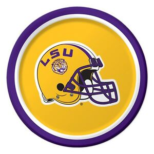 """LSU Tigers Paper 7"""" Dessert Lunch Cake Plates 8 ct Tailgating Football Party"""