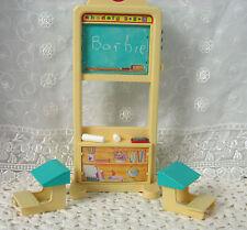 Barbie School House Vintage Talking Chalkboard/ 2 Desks/ Eraser/ Chalk *VGC*