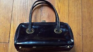 Vintage Black Patent Leather Purse / Handbag
