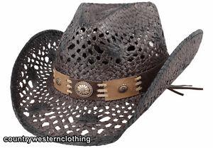 Black Straw Western Cowboy Hat Bullhide Montecarlo Pure Country USA Stetson