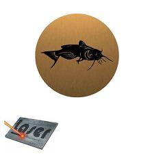 Plaque gravée autocollante 8cm Pêche Silure Poisson chat fond Alu brossé Or
