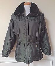 NEW NILS Army Green Heavy Winter Coat Ski Parka Removable Faux Fur Collar 8