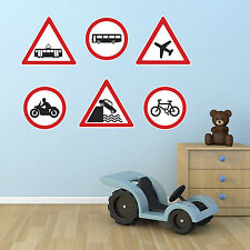 Vehicle Warning Road Sign Stickers / 6 Road Sign Wall Stickers / Kids Room Decor