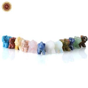 WR Natural Quartz Carved Elephant Gemstone Stone Animal Mini Figurine Stone 12