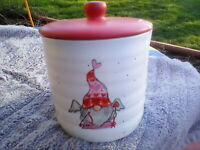 Valentine Gnome Cupid Canister  Hearts RED White New