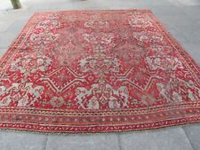 Antique Worn Hand Made Turkish Oushak Ushak Red Wool Large Carpet 303x277cm