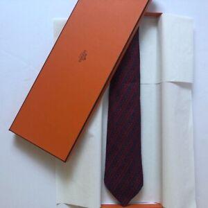 NIB Hermes 100% Silk Red Patterned Necktie
