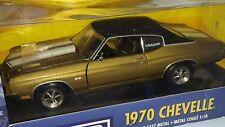 1/18 ERTL CRAGAR 1970 CHEVROLET CHEVELLE GOLD with BLACK TOP & WHITE STRIPES gd