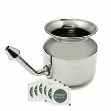 Stainless Steel Ayurvedic Jala Neti Pot for  Sinus Congestion with 10 Sachet of