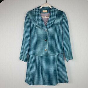 Pendleton 100% Wool Blazer Skirt Suit Women SZ 12 Blue Check Plaid Lined Vintage