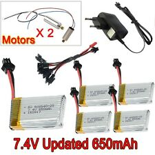 5pc 7.4V 650mAh battery+Charger Line+4x Motor for JJRC H8C H8D DFD F182 F183 T92