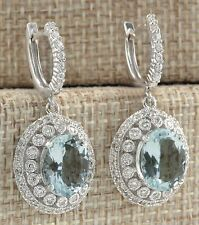 Elegant Women Silver Plated Aquamarine Gems Bridal Ear Stud Hoop Dangle Earrings