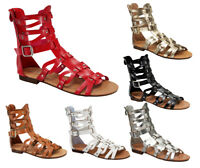 atta-1 Fashion Flats Zipper Buckle Sandals Gladiator Casual Party Women's Shoes