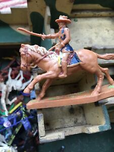 Toy Vintage Wooden Fort With Cowboy And Indian Figures