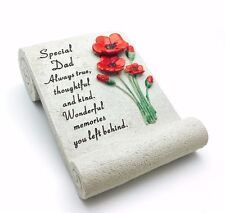 Special Dad Graveside Memorial Poppy Scroll Ornament Grave Stone Remembrance