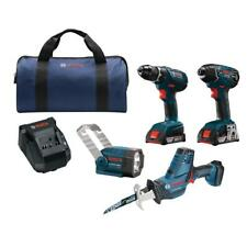 Brand new Bosch 18volt 4 Tool combo kit (drill/driver, impact, reciprocating saw